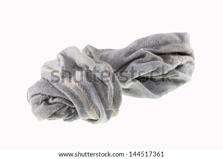 used dirty sock isolated on white background - stock photo