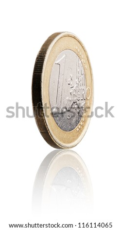 Used 1 euro coin on white with reflection.