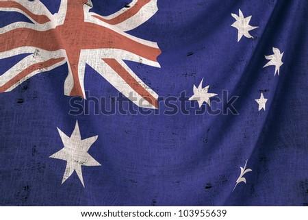 used fabric australia flag - close up - stock photo