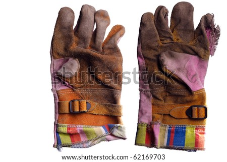Used garden work gloves isolated on white - stock photo