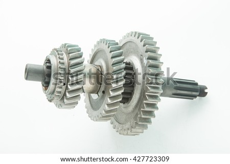 used gear for replace in car engine shaft transmission - stock photo
