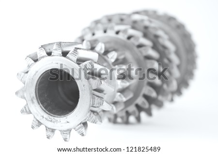 used gear unit of gearbox - stock photo