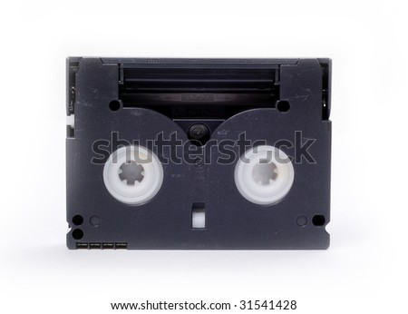used Hi-8 video tape with white background
