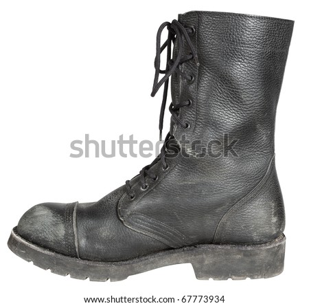 used leather military boot isolated on white background - stock photo