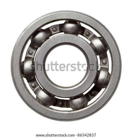 Used metal ball bearing, isolated.