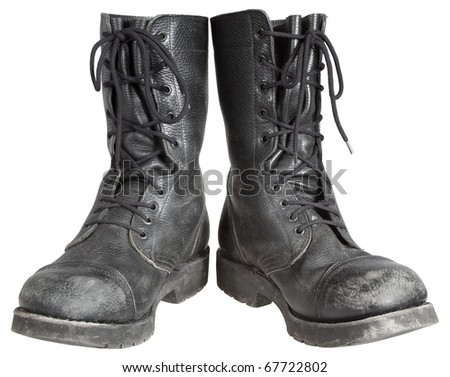 used military boots isolated on white background - stock photo