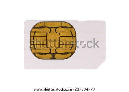 Used mobile phone sim card isolated on white - stock photo