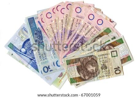 Used notes Range of damaged banknotes Polish - stock photo