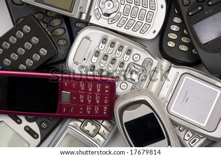 used old  Cellphones - stock photo