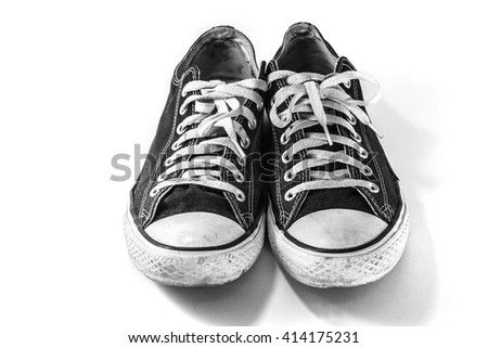 Used old sneakers  on white background - stock photo