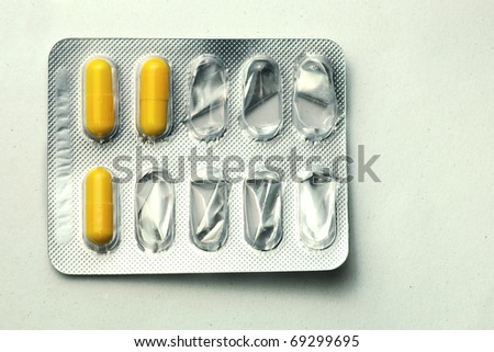 Used one packs of pills - stock photo