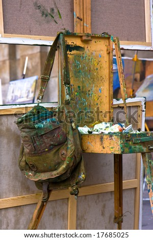 Used Painters Easel - stock photo