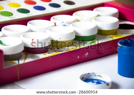 Used paints. closeup on box. - stock photo