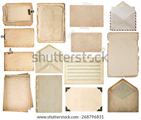 Used paper sheets. Old book pages, cardboard, music notes, photo frame with corner, vintage envelope isolated on white background