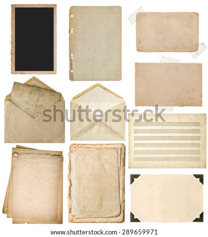 Used paper sheets set. Vintage book pages, cardboard, music notes, photo frame with corner, envelope isolated on white background