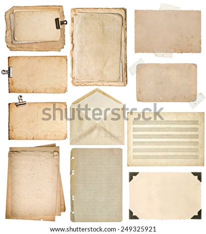 used paper sheets. vintage book pages, cardboard, music notes, photo frame with corner, envelope isolated on white background
