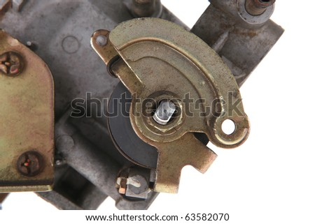 used part of motor isolated over white background - stock photo