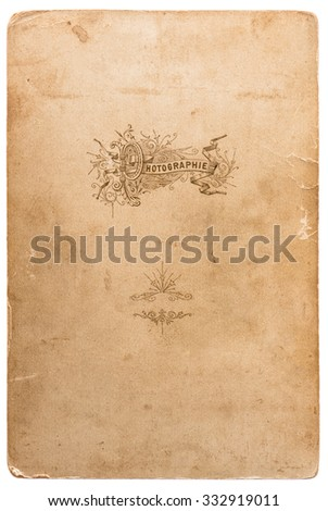 Used photo cardboard texture. Scrapbook object. Old paper sheet with edges isolated on white background - stock photo