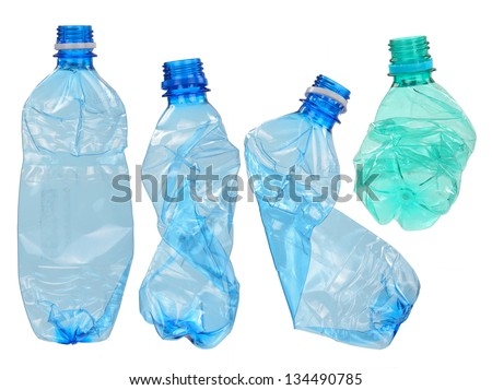 Used plastic bottles - stock photo