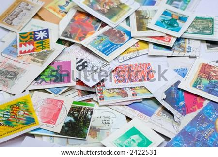 Used postage stamps - stock photo