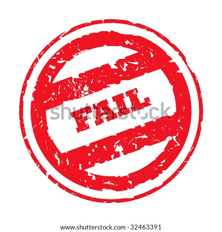 Used red fail stamp, isolated on white background. - stock photo