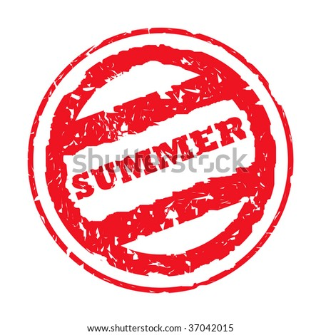 Used red summer holiday passport stamp, isolated, on white background.