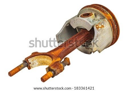 Used rusty car piston isolated on a white background - stock photo