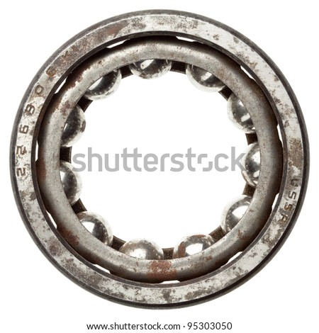 Used rusty metal ball bearing, isolated. Made in USSR. - stock photo