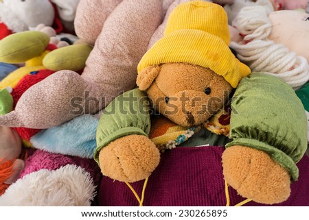 used second hand teddy bears for donation - stock photo