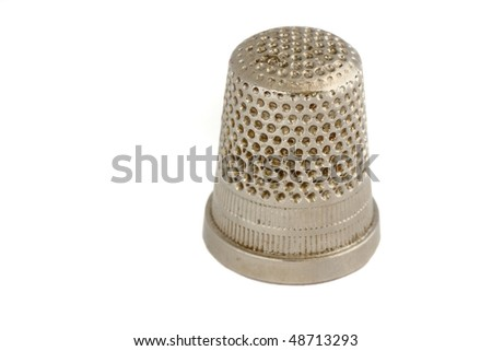 used sewing Thimble on White - stock photo
