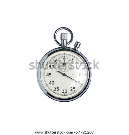used silver watch isolated over a white background - stock photo