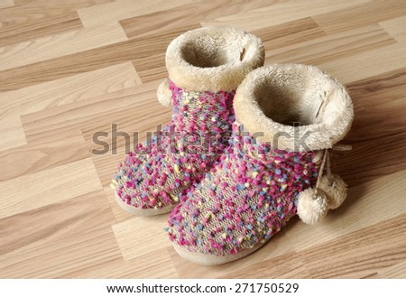 Used slippers - stock photo