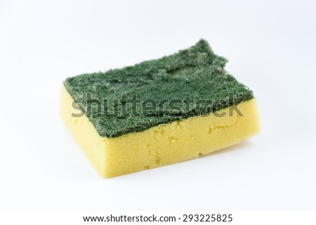 Used sponge dish isolated on white background, depth of field - stock photo
