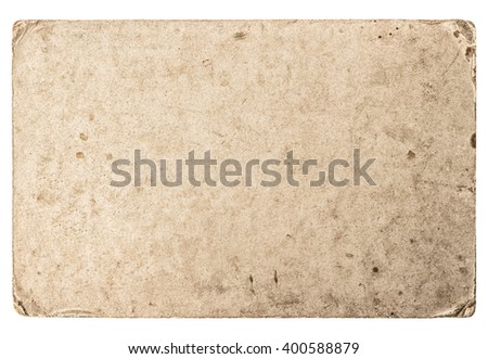 Used stained paper texture. Grungy cardboard with worn edges - stock photo