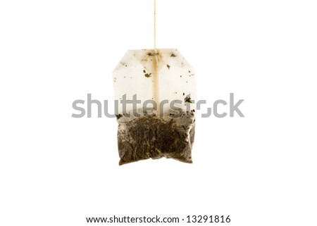Used Tea bag isolated on white background - stock photo