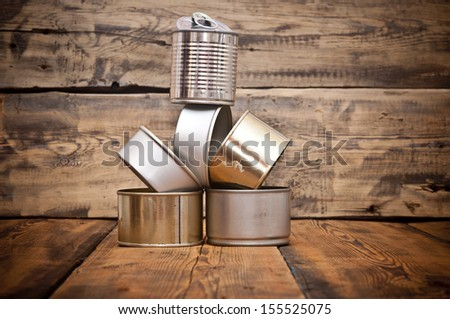 Used tin cans background - stock photo