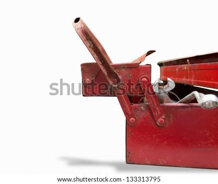 used tool box on white background - stock photo