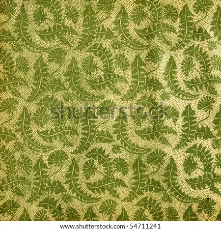 Used vintage wallpaper with dandelions - XL size - grainy surface - stock photo