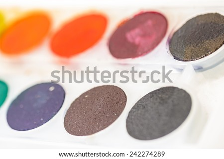 Used water color paint box. Painting Equipment - stock photo