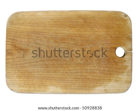 used wooden chopping board isolated on black background - stock photo