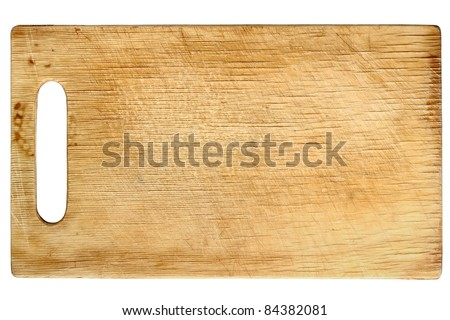 Used wooden chopping board isolated on white background - stock photo