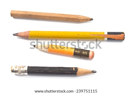 Used wooden pencil isolated on white  - stock photo