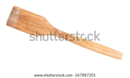 Used wooden spatula isolated on white - stock photo