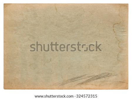 Used worn stained paper texture. Vintage cardboard background - stock photo