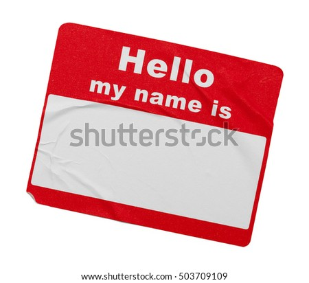 Used Wrinkled Hello Tag Isolated on White Background.