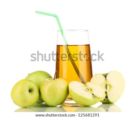 Useful apple juice with apples around isolated on white - stock photo