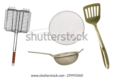 USEFUL KITCHEN UTENSIL FOR EVERYDAY ON A WHITE BACKGROUND - stock photo