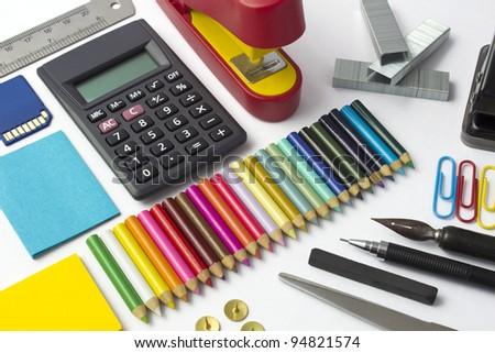 useful stationery - stock photo