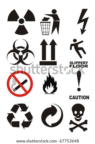 Useful Warning Symbols illustration poster image isolated - stock photo