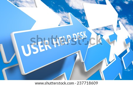 User Help Desk 3d render concept with blue and white arrows flying in a blue sky with clouds - stock photo